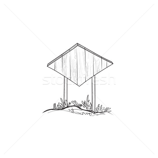 Signboard sketch. Outdoor Doodle wooden road sign. Plank signpos Stock photo © Terriana
