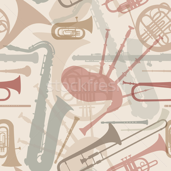 Music Background. Seamless texture with musical instruments. Musical tiled pattern. Stock photo © Terriana