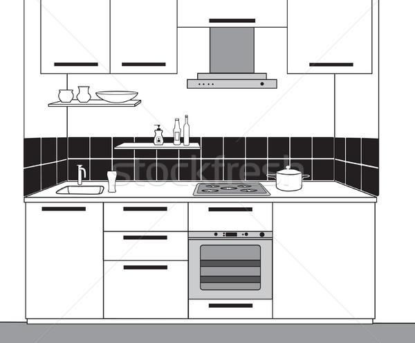 Belső rajz konyha szoba skicc terv Stock fotó © Terriana