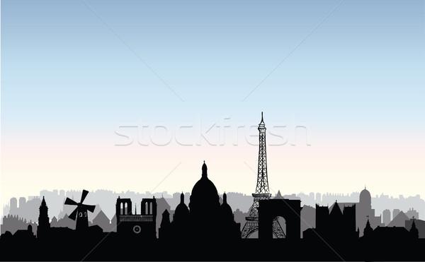 Париж город зданий силуэта французский городского Сток-фото © Terriana