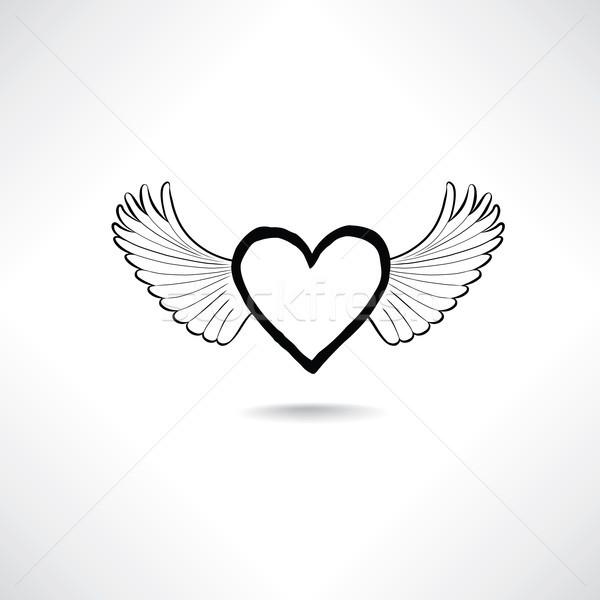 Amor corazón alas San Valentín día icono Foto stock © Terriana