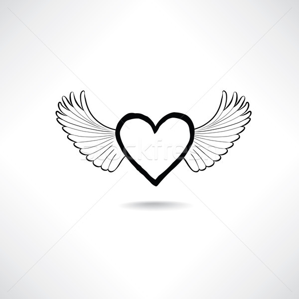 Amour coeur ailes Valentin jour icône Photo stock © Terriana
