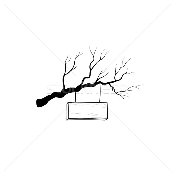 Wooden road sign on tree branch. Retro engraving plank signboard Stock photo © Terriana