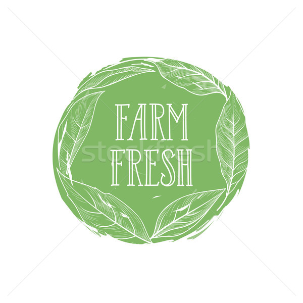 Farm natural product sign. Farm food lettering, floral label Stock photo © Terriana