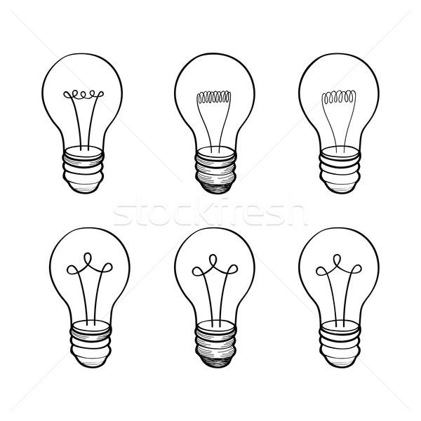 Lámpa villanykörte gyűjtemény fény ikon gyűjtemény kézzel rajzolt Stock fotó © Terriana
