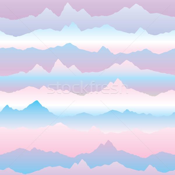 Abstract wavy mountain skyline background. Nature landscape sunr Stock photo © Terriana