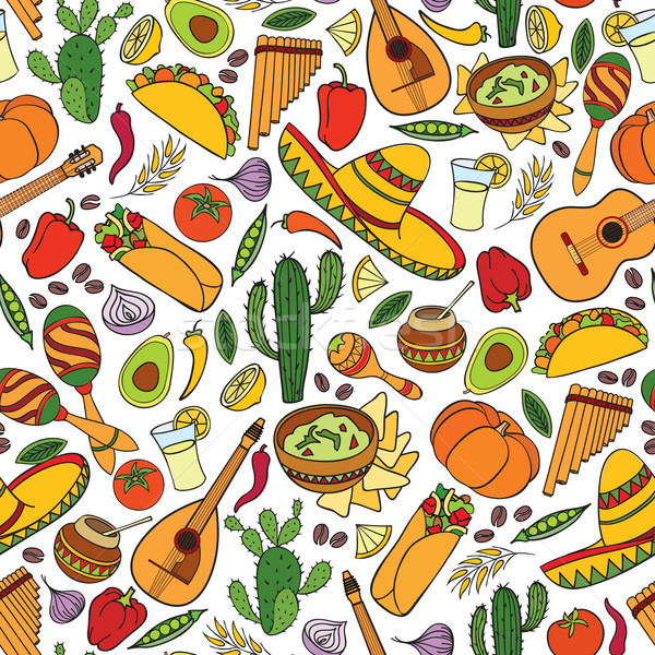 Mexican food and musical instruments seamless pattern. Travel Mexico background Stock photo © Terriana