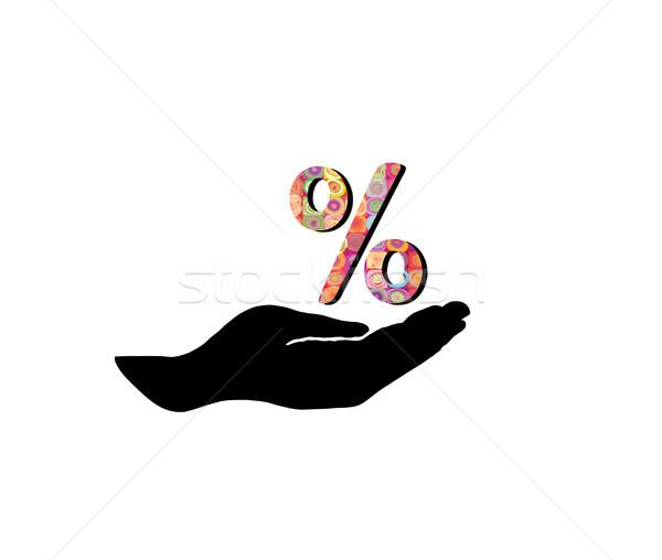 Pourcentage signe main silhouette vente pour cent Photo stock © Terriana