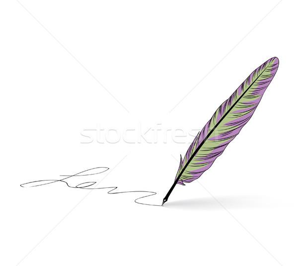 羽毛 ペン アイコン 書道 にログイン 書く ストックフォト © Terriana