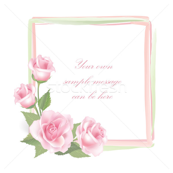 Floral background. Flower rose bouquet vintage cover. Flourish greeting card with copy space. Stock photo © Terriana