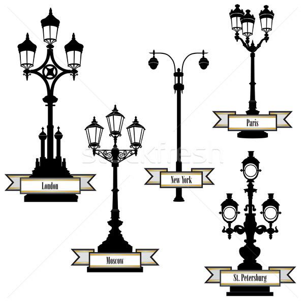 Street lamp set Streetlight city sign London Paris New-York Moscow Stock photo © Terriana
