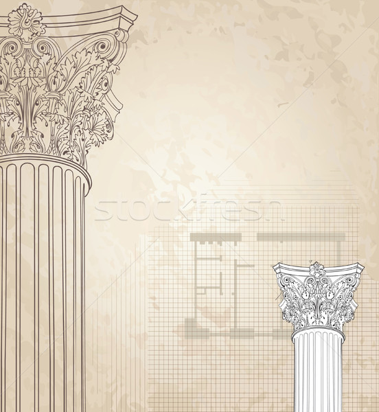 Classic columns background. Roman corinthian column etching Stock photo © Terriana