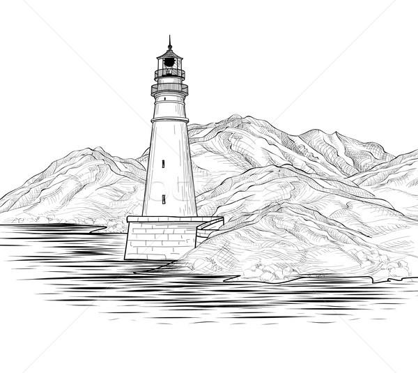 Vuurtoren zeegezicht landschap zee Stockfoto © Terriana
