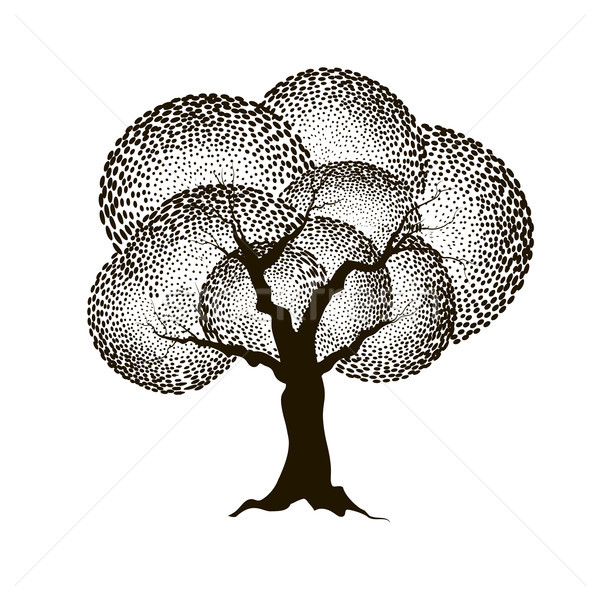 Stock photo: Tree with leaves. Summer nature sign Floral forest icon