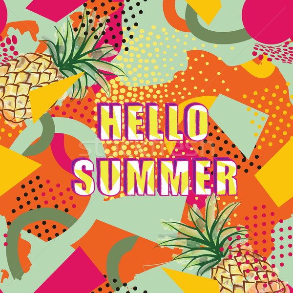 Hello summer card background over abstract blot pattern Stock photo © Terriana