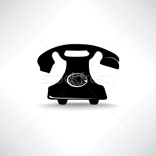 Old phone icon. Retro phone symbol. Handset sign Stock photo © Terriana