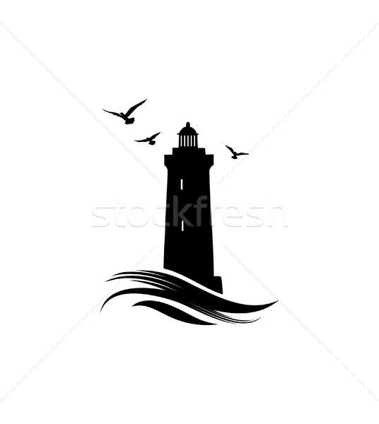 Vuurtoren logo icon oceaan golven Stockfoto © Terriana