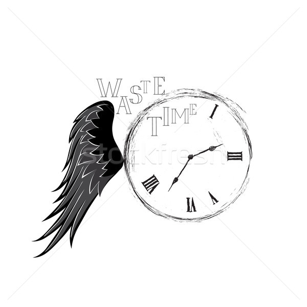 Waste time sign concept. Doodle retro watch dial with wing, dama Stock photo © Terriana