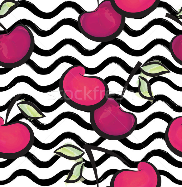Stock photo: Fruit wave seamless pattern with cherry. Food background
