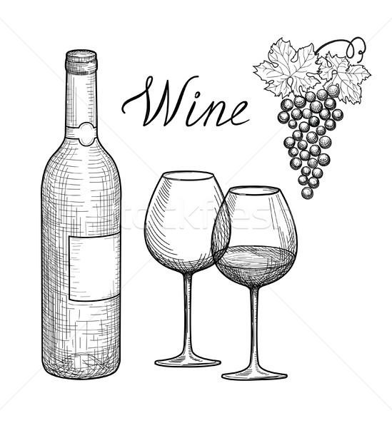 Wijn ingesteld wijnglas fles druif tak Stockfoto © Terriana