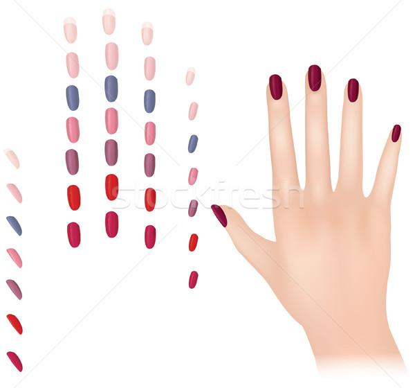 Сток-фото: печать · лак · для · ногтей · различный · моде · цветами · ногтя