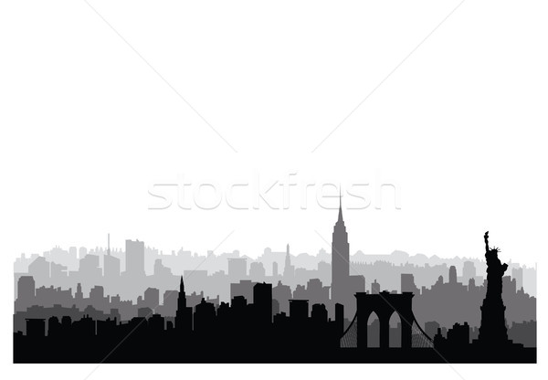 Stock photo: New York City buildings silhouette. American urban landscape. Ne