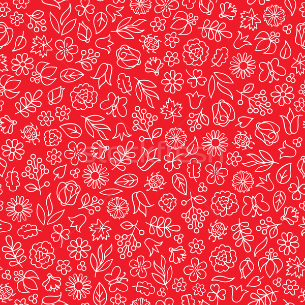 Summer floral bloom doodle tiled pattern. Flower icon nature back Stock photo © Terriana