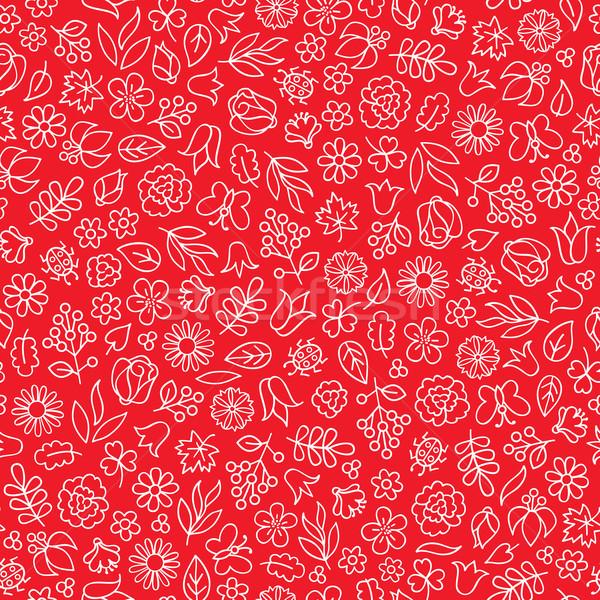 Zomer bloeien doodle betegelde patroon Stockfoto © Terriana