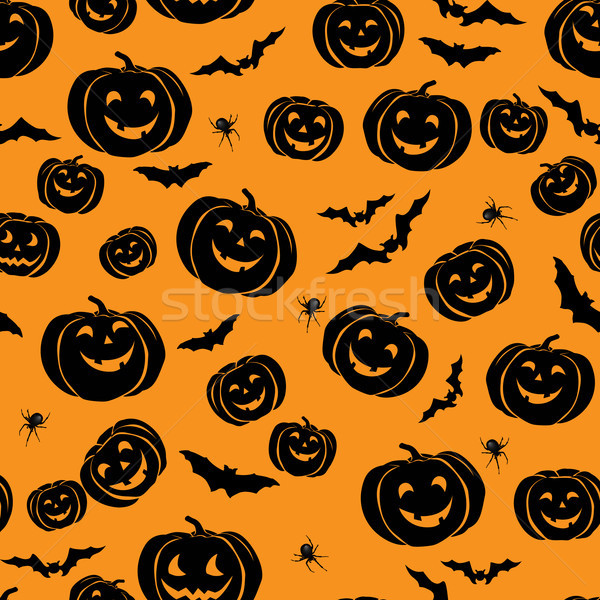 Stock photo: Happy Halloween seamless pattern. Holiday party background with