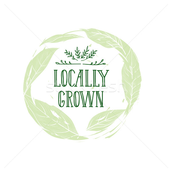 Stock photo: Farm product sign. Locally grown lettering, floral label