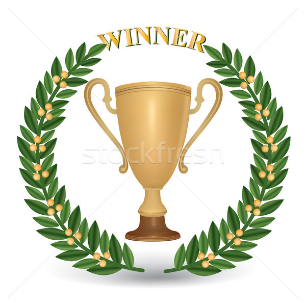 Winner cup. Trophies with laurel wreath. Golden awards isolated. Stock photo © Terriana
