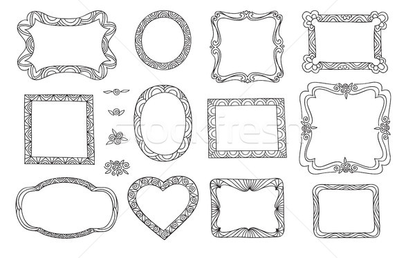Set of cute frame. Victorian ornaments photo frames. Doodle line Stock photo © Terriana