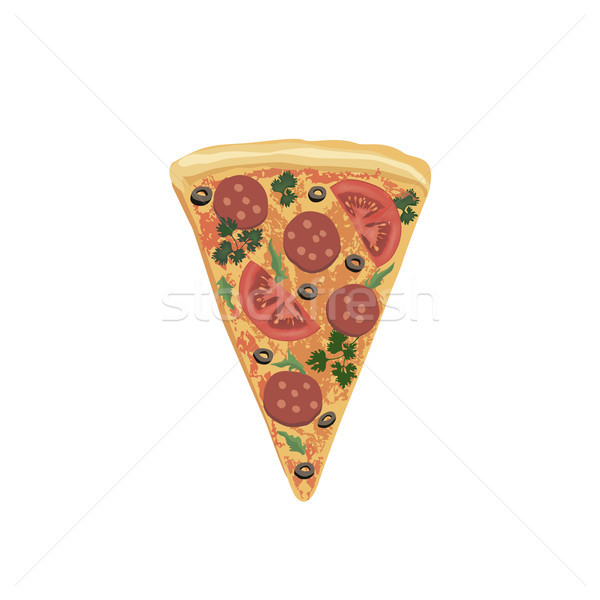 Pizza piece isolated. Food icon. Italian fastfood icon Stock photo © Terriana