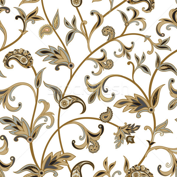 Floral  tiled pattern. Flourish oriental background. Ornament wi Stock photo © Terriana