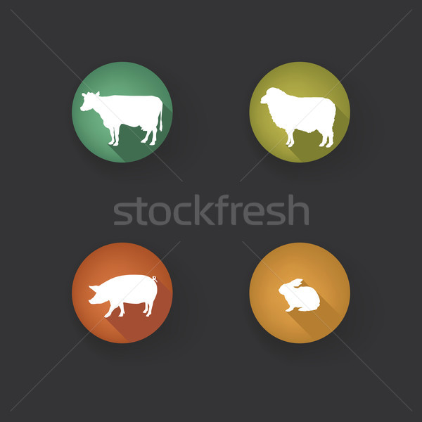 Farm animals. Vector set silhouette. Livestock icons.  Stock photo © Terriana
