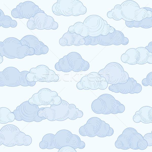 Nube garabato línea patrón nublado cielo Foto stock © Terriana