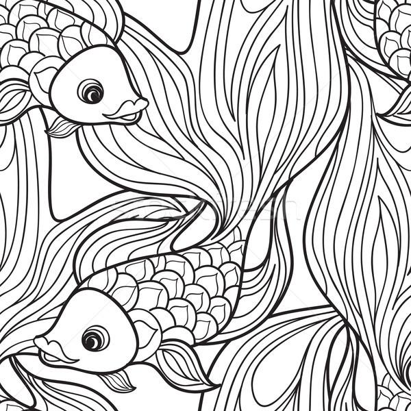 fish seamless pattern. Hand drawn doodle line decorative marine  Stock photo © Terriana