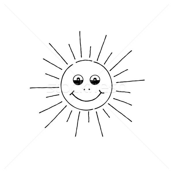 Smiling sun cartoon. Summer holiday sign. Happy funny face Stock photo © Terriana