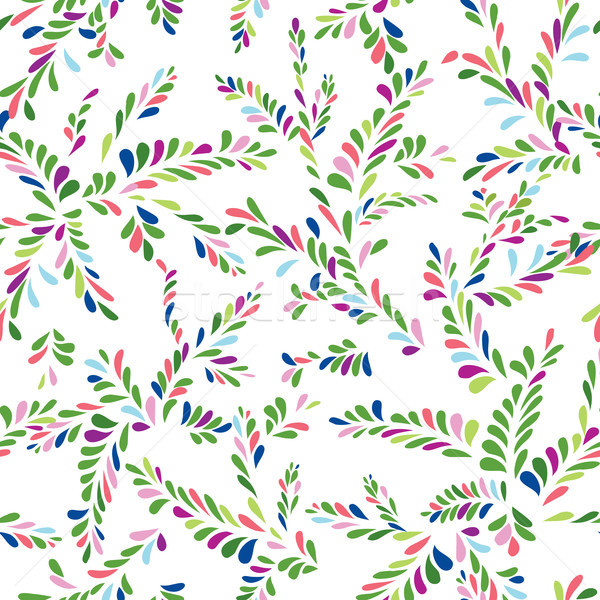 Abstract spot floral seamless pattern. Branch with leaves orname Stock photo © Terriana