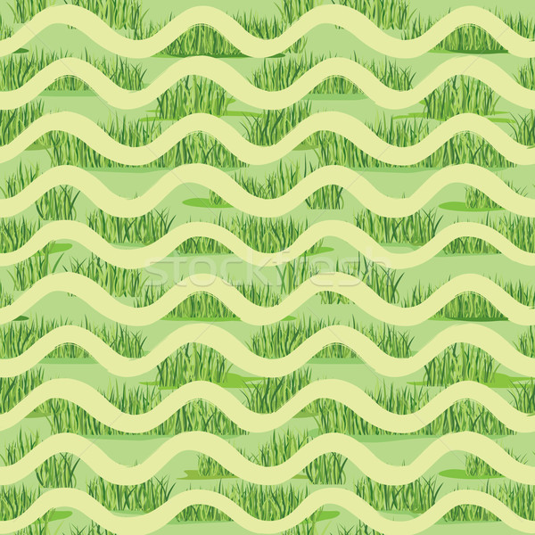 Abstract wave grass lush tiled pattern. Summer holiday background Stock photo © Terriana