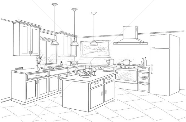Interior sketch of kitchen room. Outline blueprint design of kitchen Stock photo © Terriana