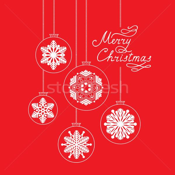 Heiter Weihnachten Doodle Ball handschriftlich glücklich Stock foto © Terriana
