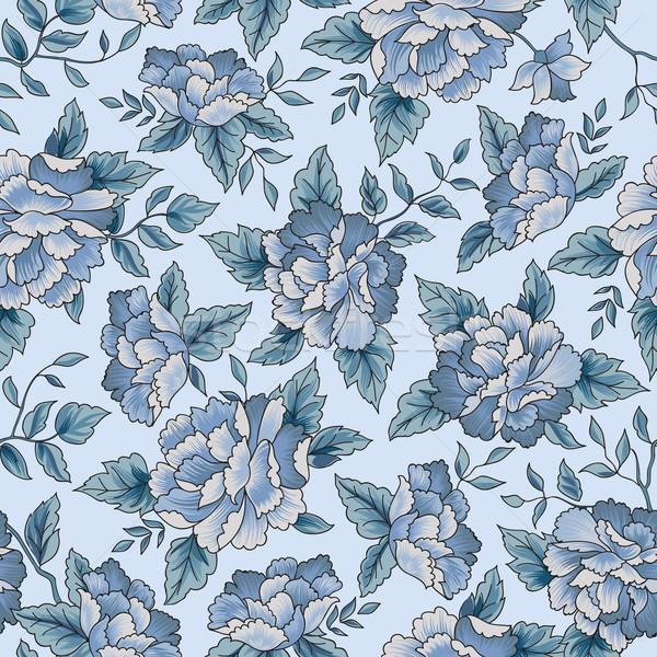 цветочный синий цветок шаблон цветок бесшовный Сток-фото © Terriana