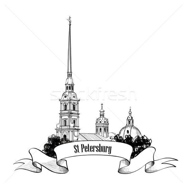 St. Petersburg city landmark, Russia. Cityscape sign isolated over background with lettering. Stock photo © Terriana