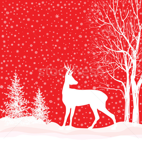 Stock photo: Snow winter landscape deer. Merry Christmas card background