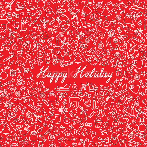 Karácsony ikon végtelen minta boldog tél ünnep Stock fotó © Terriana