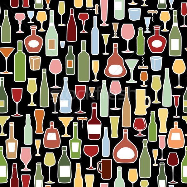 Wine bottle, wine glass tile pattern. Drink wine party background Stock photo © Terriana