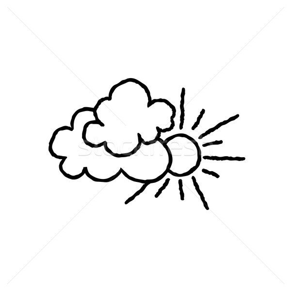 Sonne Wolken Symbol Doodle line Kunst Stock foto © Terriana