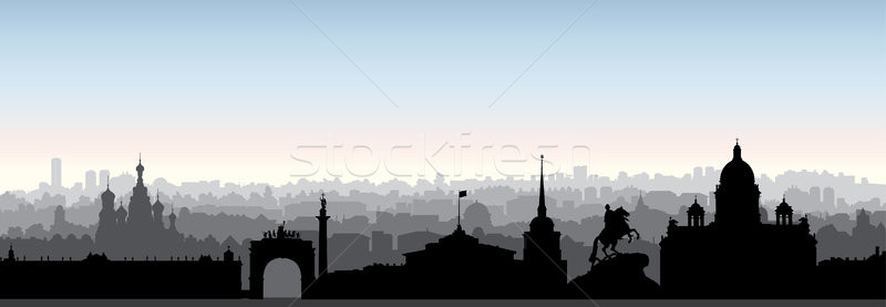 St. Petersburg city skyline, Russia. Tourist landmark silhouette Stock photo © Terriana