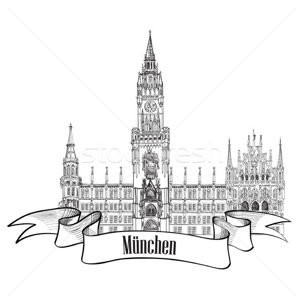 Munich famous city palace with tower. Rathause, town Hall, Munich, Germany. travel landmark building Stock photo © Terriana